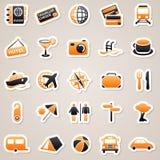 Travel orange stickers. Stock Photos