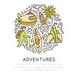 Travel outdoor adventure hand draw icon concept. Sketched icons about travelling, kayaking, hikking and tropical beach Stock Image