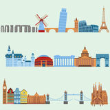 Travel outdoor Euro trip vacation travelling concept flat design vector illustration. Royalty Free Stock Photos