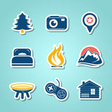 Travel and outdoor paper icons Stock Images