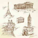 Travel over Europe. Hand drawn collection Royalty Free Stock Image