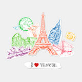 Travel Paper Stickers Set Royalty Free Stock Photos
