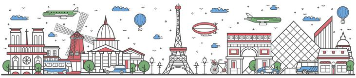 Travel in Paris city line flat design banner. Travel in Paris city banner illustration. Worldwide traveling concept with famous modern and ancient architectural royalty free illustration