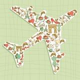 Travel Paris icon set airplane Royalty Free Stock Photo
