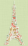 Travel Paris icon set Eiffel tower. Hand drawn travel paris icon set in Eiffel tower shape. Vector file layered for easy manipulation and custom coloring stock illustration