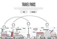 Travel Paris poster in linear style. Travel Paris poster with national architectural attractions and air route symbols in trendy linear style. Parisian famous Stock Images