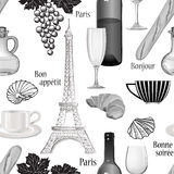 Travel Paris seamless pattern. Famous french food background. Cu Stock Photos