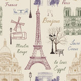 Travel Paris seamless pattern. Vacation in Europe wallpaper. Stock Photo