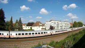 Travel of passengers by train. Passenger Transportation. Passenger train.Red locomotive stock video