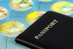 Travel passport. Travel with passport and map Royalty Free Stock Photo