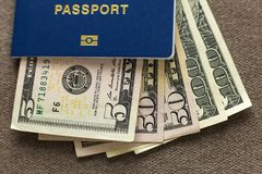 Free Travel Passport And Money, American Dollars Banknotes Bills On Copy Space Background, Top View. Traveling And  Finance Problems Stock Image - 149656971