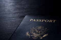 Travel Passport Booklet Cover United States American Black Contrast Desk Flash Royalty Free Stock Photo