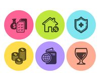 Free Travel Passport, Coins And Loan House Icons Set. Accounting Wealth, Medical Shield And Wine Glass Signs. Vector Stock Photos - 151491803
