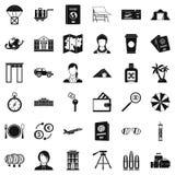 Travel passport icons set, simple style stock illustration
