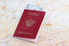 Travel passport of russia over map. Of Germany royalty free stock photography