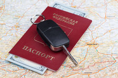 Travel passport of russia over map. Of Germany stock photo