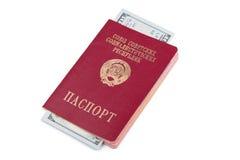 Travel passport of the Soviet Union with money Royalty Free Stock Photos