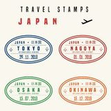 Japan travel stamps vector illustration