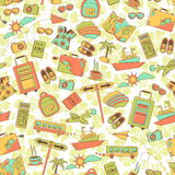Travel pattern. Seamless pattern with travel symbols Stock Photo