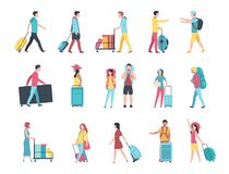 Travel people. Airport tourist baggage crowd passengers check passport control terminal queue. People with luggage. Vector set royalty free illustration