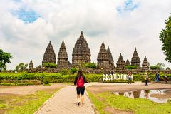 Travel. People going travel to asia indonesia prambanan temple stock photos