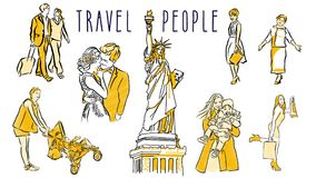 Travel People Hand Drawn Sketched and Animated stock footage