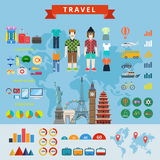 Travel people infographics constructor flat concept web template Stock Photography