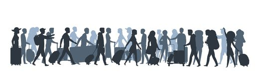Travel people silhouette. Family tourists shopping with large bags, business person with suitcase luggage. Vector vector illustration