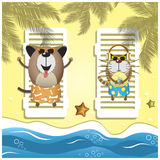 Travel pets. Vector illustration with relax dog and cat on the sand beach. Travel pets. Vector illustration with domestic pets on the sand beach Royalty Free Stock Image