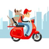 Travel with pets - young man on moto with dog and city landscape royalty free illustration