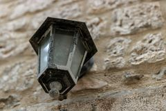 Focus on the street lamp in Hvar, Croatia royalty free stock images