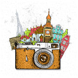 Travel photo background with retro camera Stock Photography