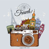 Travel photo background with retro camera Royalty Free Stock Photos