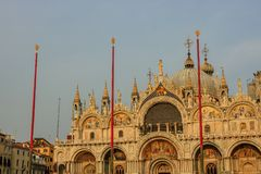 Travel photo of the facade of St Mark`s Basilica, cathedral church of Venice, Italy. stock photography