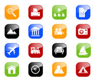 Travel and Photo icons - color series. Set of 16 internet icons. Additional format includes each icon in five color variations Stock Illustration
