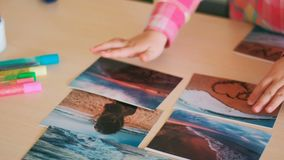 Travel photo little child hands dreams. Concept. journey memories. sea trip stock video