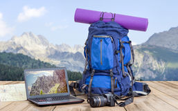 Travel photographer backpack Stock Images