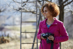 Travel photographer in the countryside Stock Photo