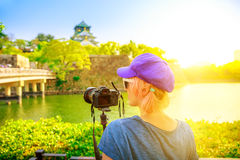 Travel photographer in Japan stock photography