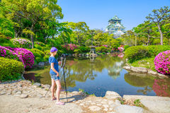 Travel photographer in Japan Royalty Free Stock Photos