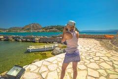 Travel photographer in Nafplio stock photo