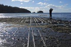 Travel photographer photographing Tessellated Pavement in Tasman Peninsula Tasmania Australia. Silhouette of Travel photographer photographing the landscape view stock photo