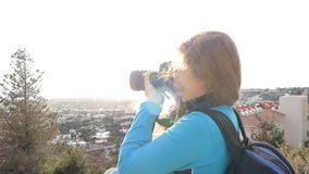 Travel photographer taking pictures stock footage