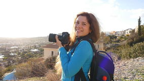Travel photographer taking pictures stock video footage