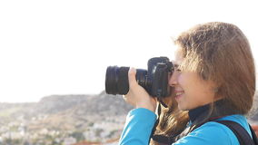 Travel photographer taking pictures stock video