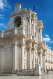 Travel Photography from Syracuse, Italy on the island of Sicily. Cathedral Plaza. Stock Image