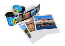 Travel photos. Set of film cassettes and travel photos isolated over white background Stock Photo