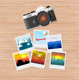 Travel photos with camera Royalty Free Stock Images