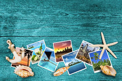 Travel photos and seashells Royalty Free Stock Images