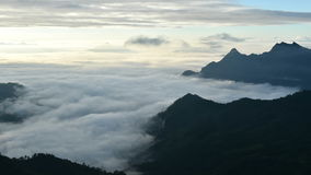 Travel of Phu Chi Fa and Foggy Landscape stock footage